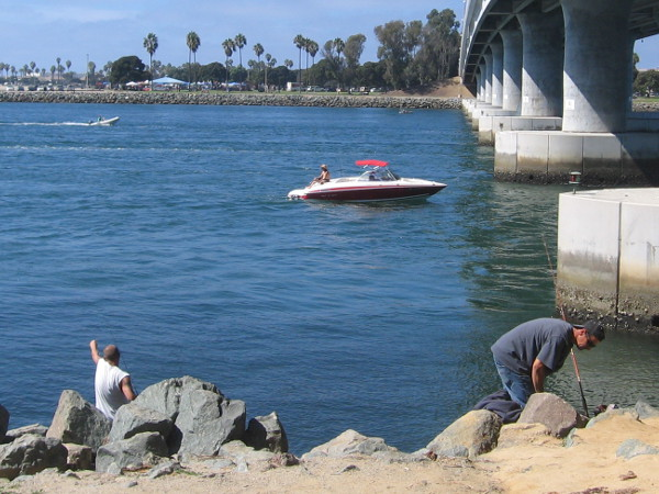 Just fishing on a Sunday by the bridge north of Quivira Basin. It crosses over Mission Bay Channel and leads to nearby Mission Beach.