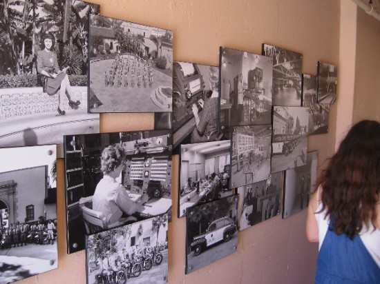 Fascinating photographs on one corridor wall show scenes from the old police headquarters.