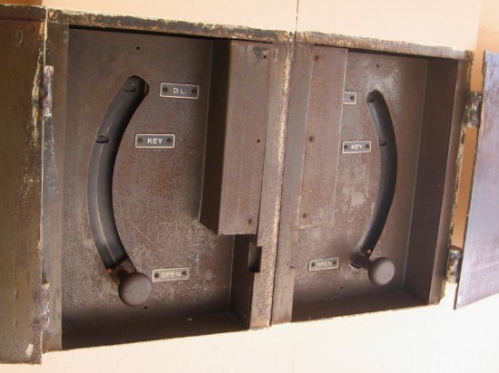 Cells for prisoners and suspects were securely locked and unlocked using this mechanism.
