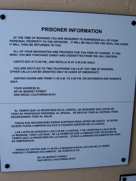 Prisoner Information. Personal property is surrendered, necessities are provided, hours for lights out and visitors, and two telephone calls are granted at the time of booking.