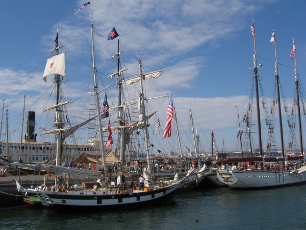 Masts of a few visiting tall ships during 2015 Festival of Sail, at the Maritime Museum of San Diego.