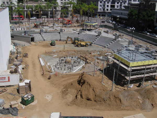 Photo of Horton Plaza Park construction in late August 2015.