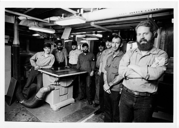 Patternmaker Kevin O'Connor, Molder Jessie Lopez, Molder Lee Garland, Patternmaker Roger Richie, two unidentified Molders, Bill McCoy and Ron Gray. Photo credit: United States Navy.
