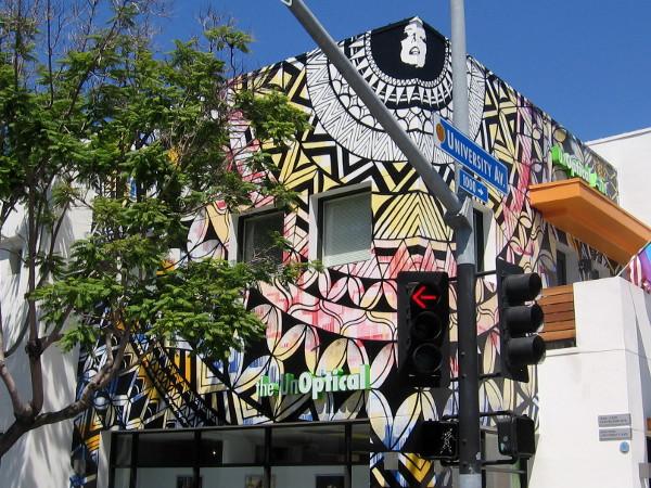 Exist1981 street art on a corner of University Avenue in Hillcrest, San Diego.