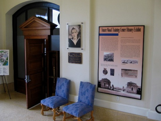 Inside the entrance to the Command Center. Various signs and free literature provide information about the converted military base and its many cultural attractions.