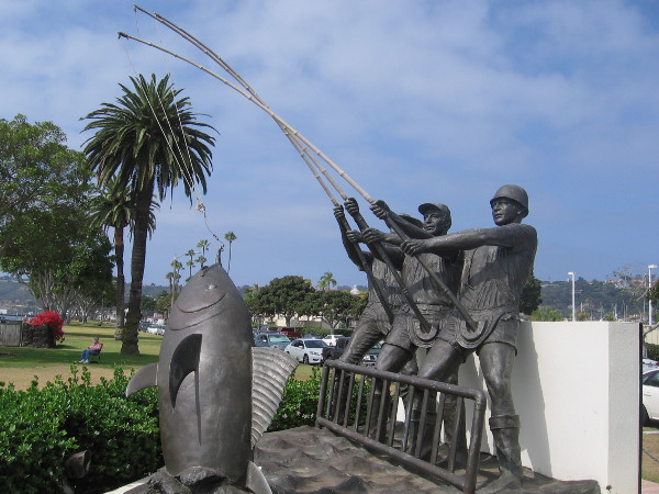The Tunaman's Memorial on Shelter Island is a 7,000 bronze sculpture honoring generations of fishermen.