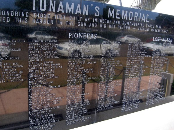Polished side of Tunaman's Memorial contains names of San Diego fishing pioneers and those who were lost at sea.