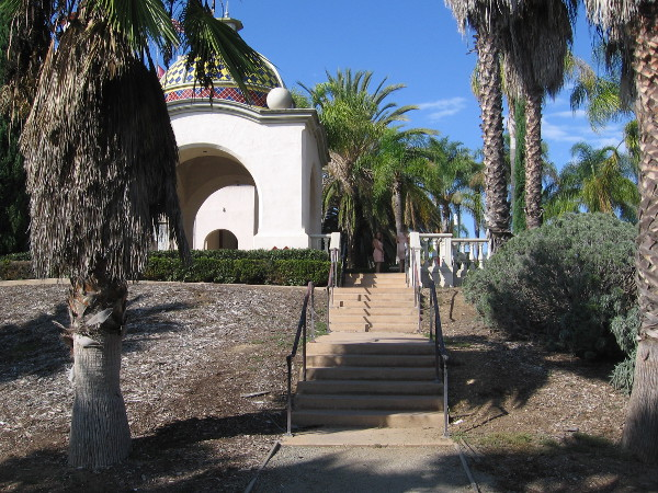 Looking north at steps that lead down from the quiet, stately Balboa Park Administrative Building Courtyard.