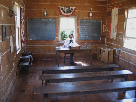 Years ago, the museum contained individual student desks. But these benches are a faithful reproduction of actual history. Fancy desks were rare in this remote outpost of civilization!