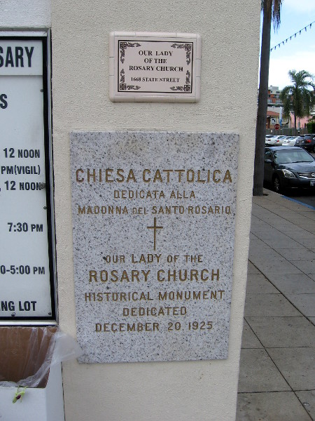 Plaque on Our Lady of the Rosary Church. Historical monument dedicated December 20, 1925.