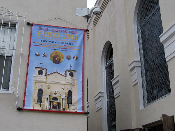 Banner declares Sunday, October 4 is Our Lady of the Rosary Catholic Church's much anticipated Festa 2015.