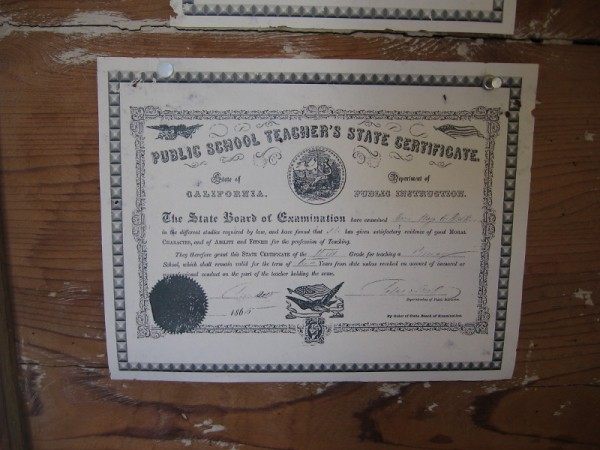 Public School Teacher's State Certificate from the mid 19th century. San Diego's first teacher was Mary Chase Walker.