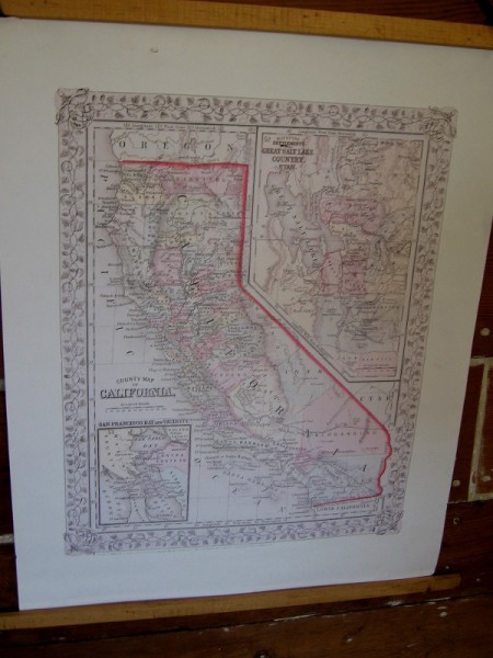 Old map of California from an era when many immigrants arrived by ship.