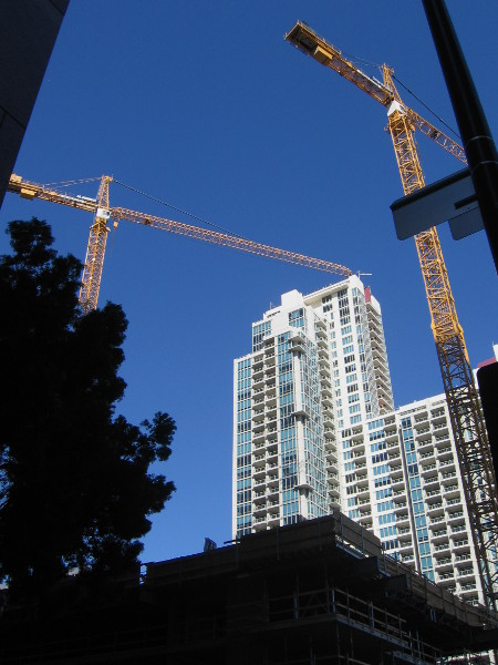 Blue Sky's two towers will be located on B Street between Symphony Towers and Vantage Pointe (in the background), which is currently San Diego's largest apartment complex.
