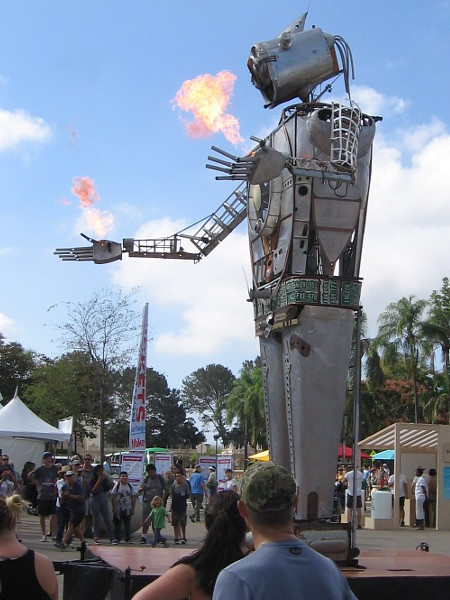 Wow! Maker Faire is about to officially open and Robot Resurrection has begun to shoot flames from its fingers! Let's check it out!
