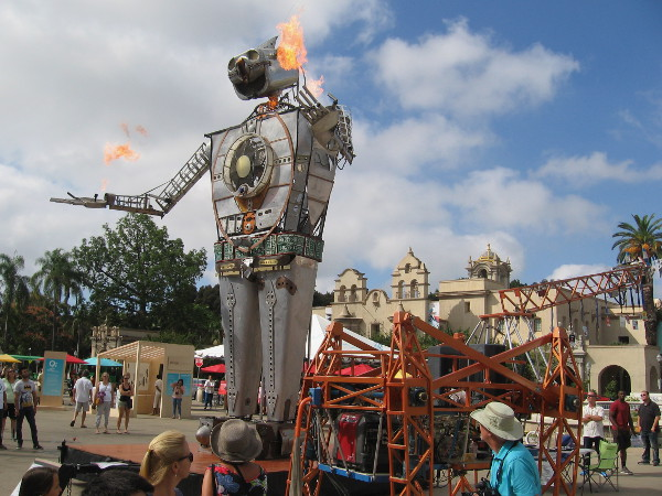 Robot Resurrection has been joined by the famous 17 foot tall mechanical walking Electric Giraffe!