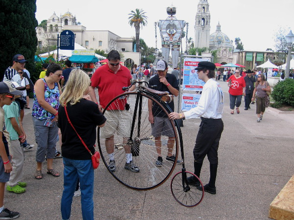 This cool guy with the big wheeled penny-farthing bicycle is often seen around Balboa Park. He has appeared in other blog posts. I spoke briefly with him and he's really nice!