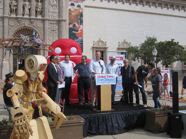 Shortly after 10:30, San Diego Mayor Faulconer welcomed the attendees to the first annual Maker Faire.