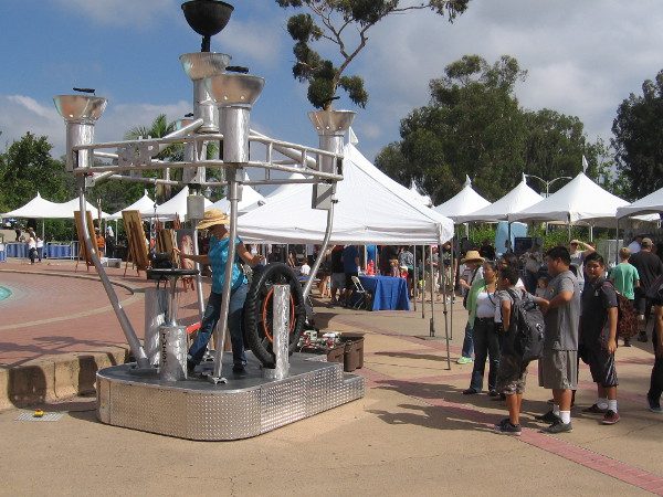 After the brief ceremony and speeches, I headed down to the fountain by the Reuben H. Fleet Science Center. Lots more cool stuff was attracting a crowd.