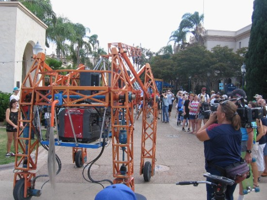 Russell the Electric Giraffe, also named Rave Raff, heads down El Prado in the heart of Balboa Park!