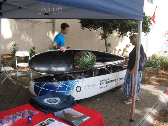 National University's School of Engineering and Computing had a futuristic vehicle on display.