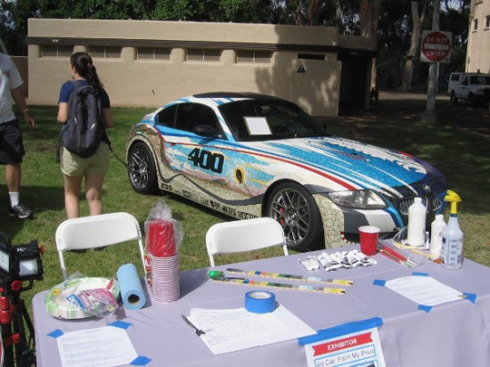 Some artists by the San Diego Automotive Museum were painting a Prius!