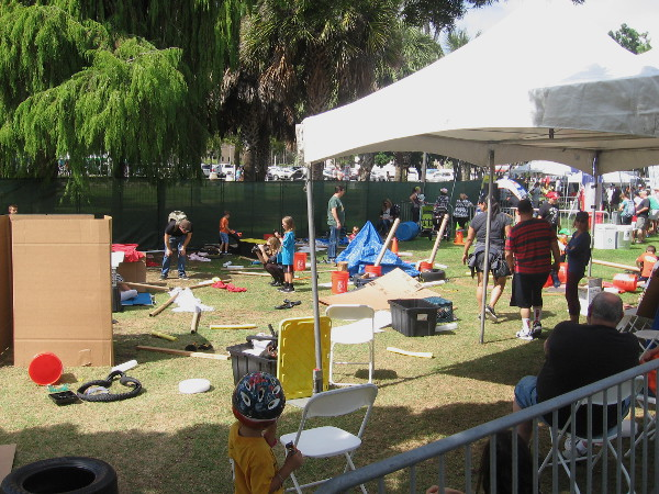 The Drones and Outdoor Play zone had lots of material for young, imaginative creators to assemble.