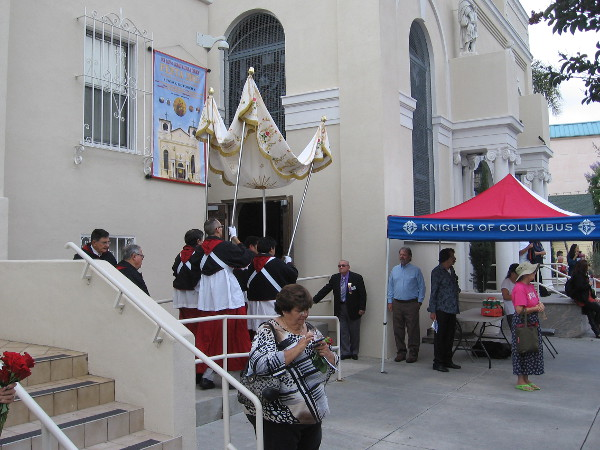 An elegant canopy emerges from the Catholic Church.