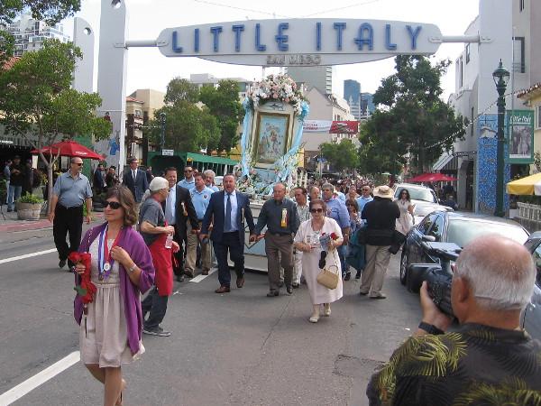 Passing under the landmark Little Italy sign on India Street.