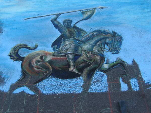 Tonie Garza. The iconic El Cid Campeador statue in the Plaza de Panama. Chalk art celebrating Balboa Park's centennial in 2015.