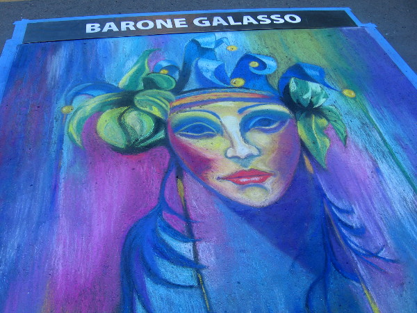 Michael Zamora. Fantastic chalk face based on an Italian painting in the San Diego Museum of Art in Balboa Park.