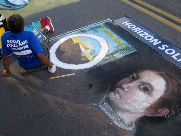 Team Pierre. Vintage images take form as a skilled Gesso Italiano artist takes on the cool theme of Balboa Park's centennial.