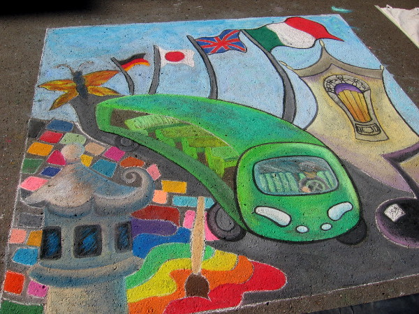 Mel Clarkston Art. It's a green people mover! I see colored tiles from Spanish Village, flags from the International Cottages, and a butterfly from the Zoro Garden!