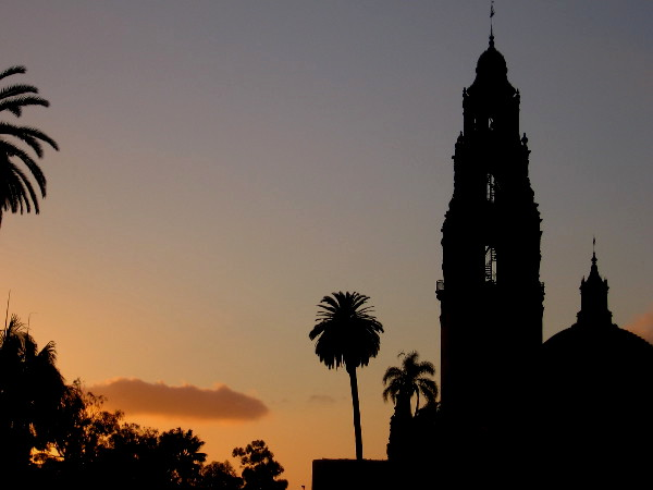 A dramatic end to an October day. Photo of iconic California Tower in San Diego's Balboa Park as night falls.