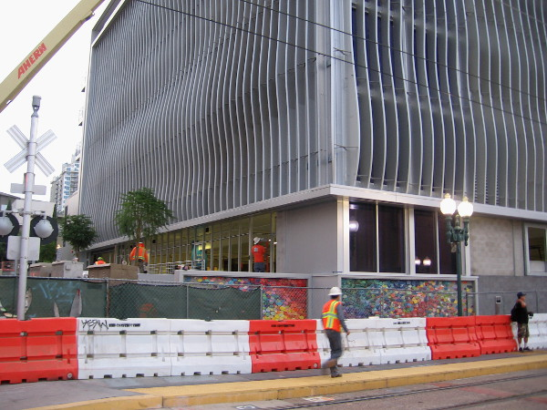 This parking garage, when completed, will serve both the nearby County Administration Center and Little Italy.