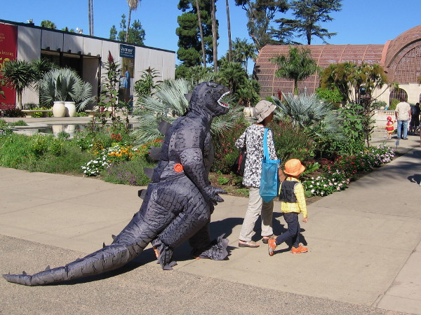 Now wait a minute. I see Godzilla strolling near the reflecting pool. Perhaps he emerged from deep waters to wreak havoc on San Diego. I hope not.