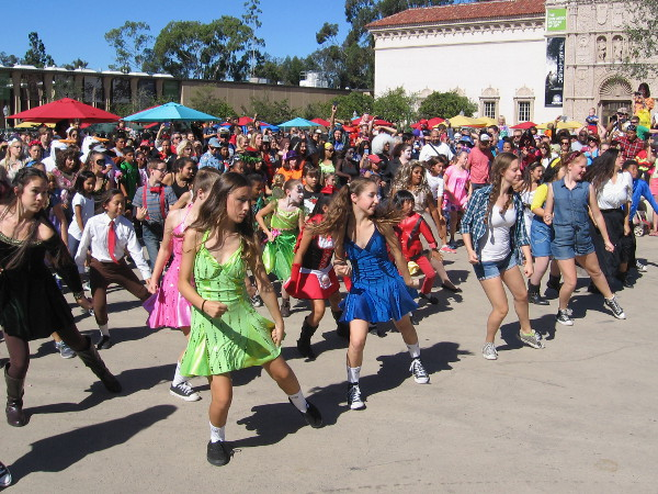 A scary flash mob, brought together by the San Diego Civic Dance Association, performs Thriller during Balboa Park Halloween Family Day.