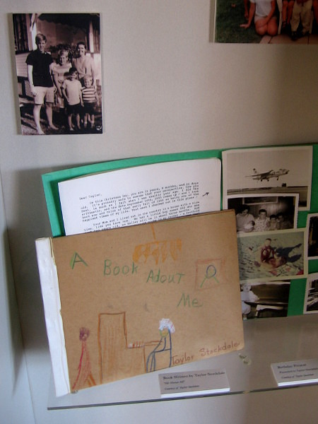 The exhibit contains photographs and objects from James and Sybil Stockdale's family life.