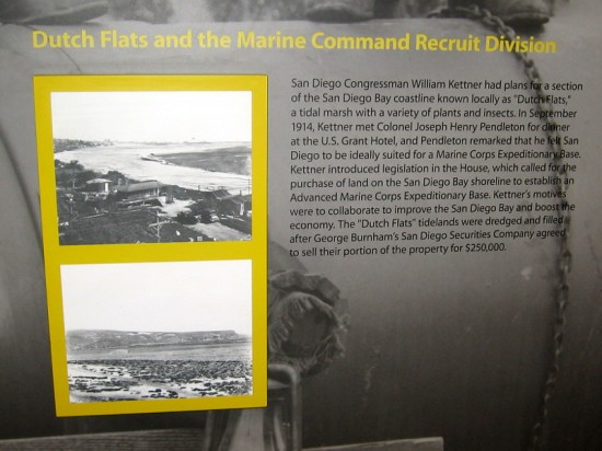 Dutch Flats and the Marine Command Recruit Division. Plans were devised by San Diego Congressman William Kettner. A tidal marsh would be dredged and filled.