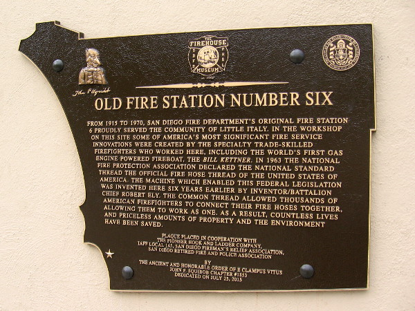 Old Fire Station Number Six. From 1915 to 1970, San Diego Fire Department's original Fire Station 6 proudly served the community of Little Italy.