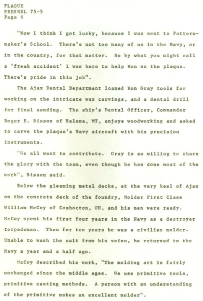Navy Commemorative Plaque News Release. Navy Bicentennial, October 3-13, 1975. Page 6.