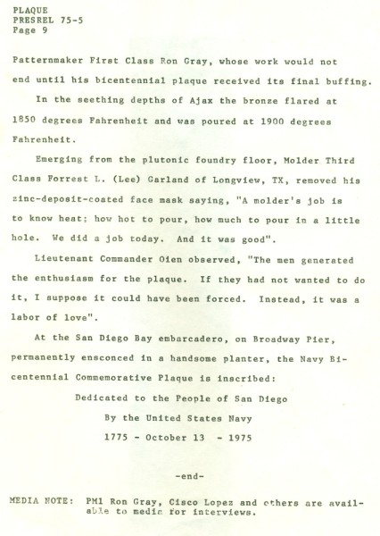 Navy Commemorative Plaque News Release. Navy Bicentennial, October 3-13, 1975. Page 9.
