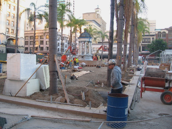 Construction workers prepare the new, expanded Horton Plaza Park in downtown San Diego.