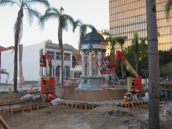Historic fountain in Horton Plaza Park being renovated in November 2015.