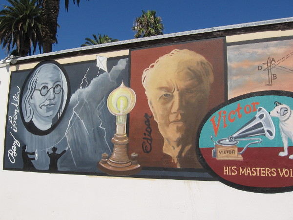 Benjamin Franklin with his famous kite, and Thomas Edison, inventor of the light bulb and phonograph, are depicted on very unique mural in Ocean Beach.