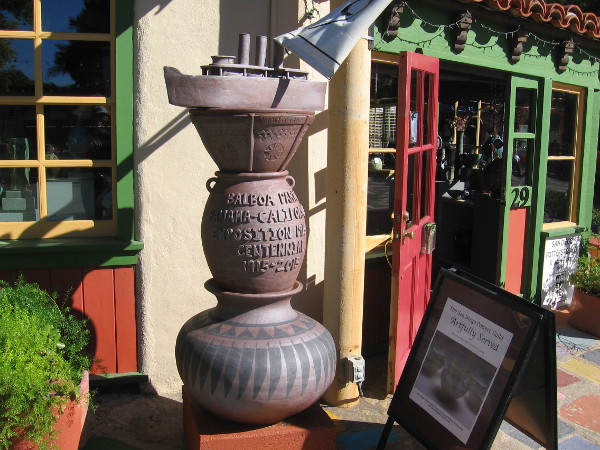 The San Diego Potter's Guild in Spanish Village recently created this artistic tribute to the 1915 Panama-California Exposition and Balboa Park's centennial.