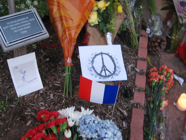 French flag and Eiffel Tower as a peace sign. A memorial for the victims of the Paris terror attack.