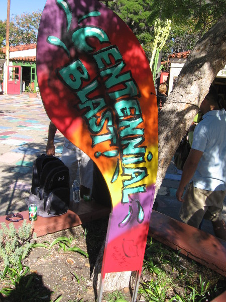 Spanish Village in Balboa Park has a new Dance through the Decades of Art exhibit in their patio courtyard. It celebrates the evolution of art over the last hundred years. This bold piece represents the graffiti art style!