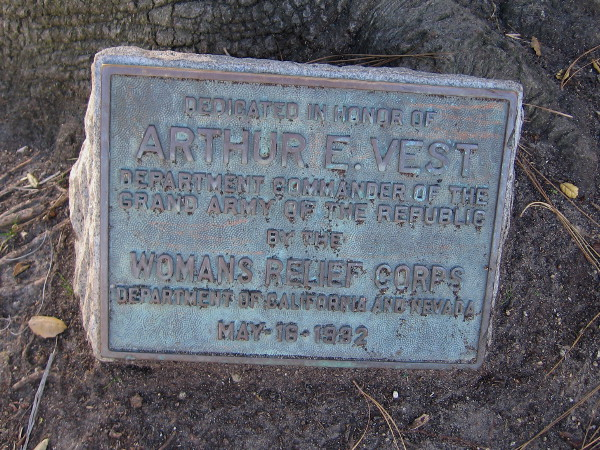 Old plaque at base of large tree in the middle of the surrounding cottages. Dedicated in honor of Arthur E. Vest, Department Commander of the Grand Army of the Republic.