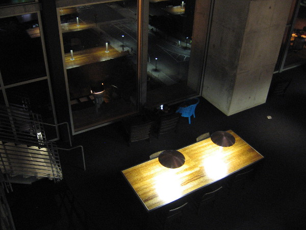Looking down into the large reading room of the San Diego Central Library after dark. Under the dome, people were quietly studying, or just gazing out into the nighttime.